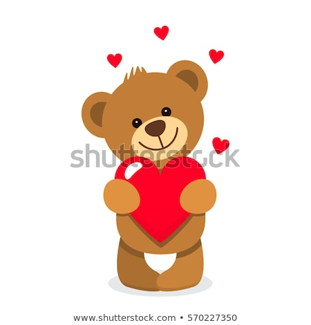 Cartoon vector cute brown happy lovely baby bear with heart Stock photo © Thodoris_Tibilis