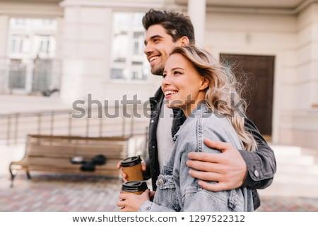 кофе любящий брюнетка красивой модный молодые Сток-фото © lithian