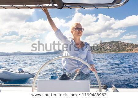 船乗り · セーリング · 海 · ヨット · 青 · 地中海 - ストックフォト © sarymsakov