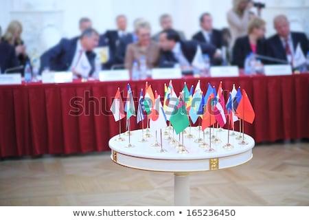 Китай Узбекистан миниатюрный флагами изолированный белый Сток-фото © tashatuvango