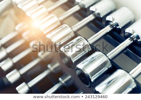 weights rows of dumbbells on a rack stock photo © alexmillos