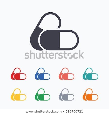 Pill icon on white background. Stock photo © tkacchuk