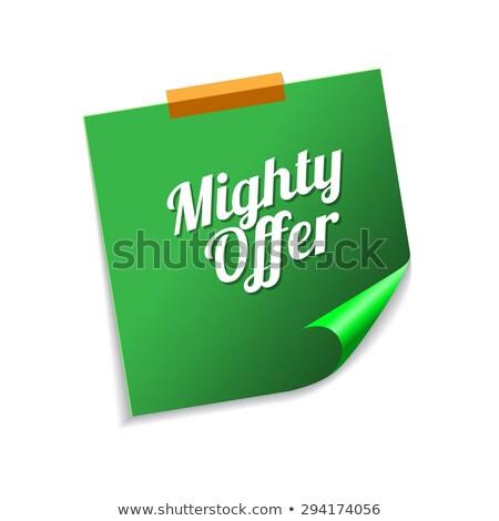 Potężny oferta zielone karteczki wektora ikona Zdjęcia stock © rizwanali3d