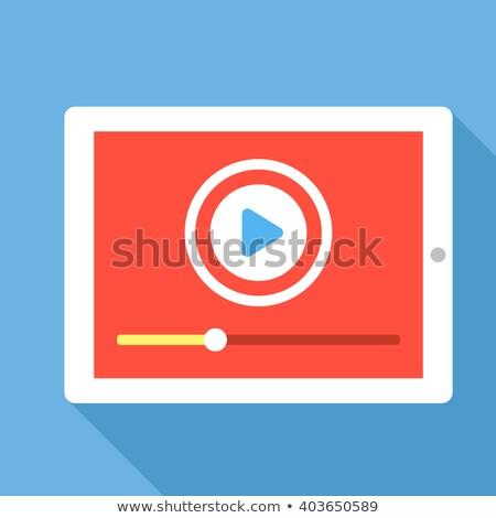 Media Play on Tablet. Flat Design. Long Shadow. Stock photo © WaD