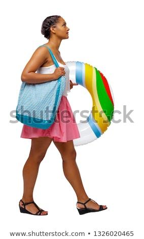 mulher · coco · praia · tropical - foto stock © deandrobot