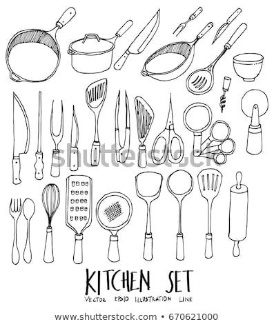 szett · különböző · szakács · sapkák · bor · művészet - stock fotó © netkov1