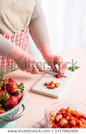 strawberries into small pieces stock photo © fotografiche