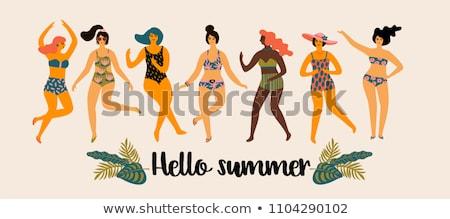 nő · turista · nyári · vakáció · iszik · koktél · naplemente - stock fotó © alphaspirit