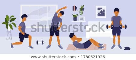 мышечный · фитнес · инструктор · гантели · белый · тело - Сток-фото © dolgachov