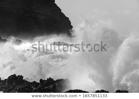 черный · вулканический · пляж · пейзаж · волны · тень - Сток-фото © amok
