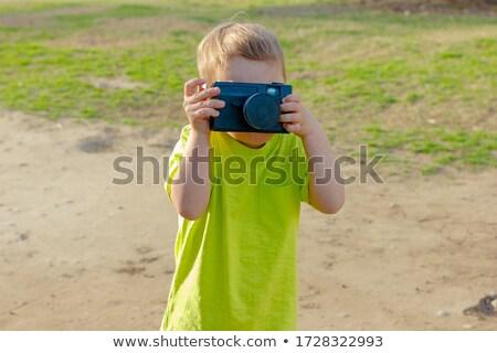 Chłopca przestarzały kamery moda włosy retro Zdjęcia stock © Paha_L