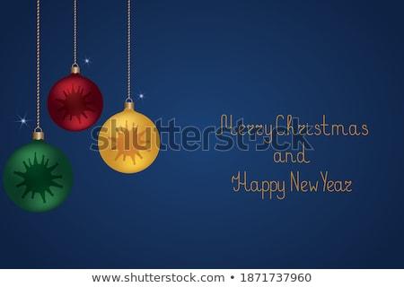 merry christmas blue glittering lettering design vector illustration eps 10 stock photo © rommeo79
