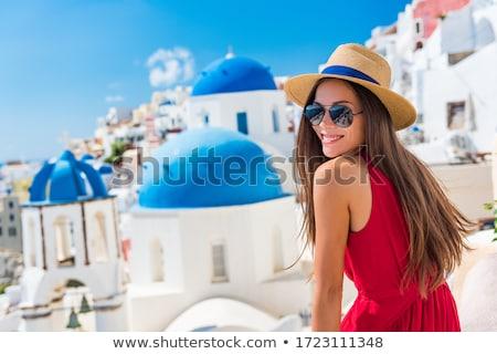 fiatal · divat · lány · fehér · kalap · zöld - stock fotó © vapi