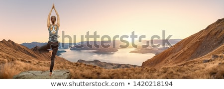 happy athletic woman practicing yoga on the rocks by the sea stock photo © vlad_star