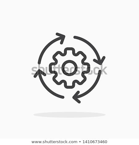 gear wheel with arrow line icon stock photo © rastudio