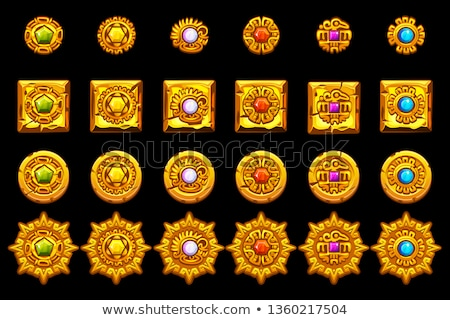 the gold vector mayan and inca tribal symbols Stock photo © sdmix