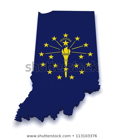 Indiana · kırmızı · soyut · 3D · harita · Amerika · Birleşik · Devletleri - stok fotoğraf © iqoncept