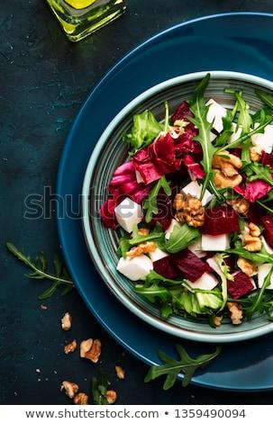 Bieten salade voedsel kaas achtergrond tabel Stockfoto © racoolstudio