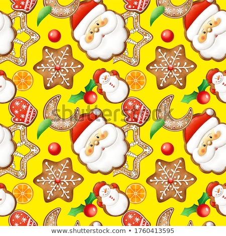 seamless pattern merry christmas and new year holidays card with snowy town vector illustration stock photo © carodi
