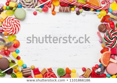 Compleanno candy dolci frame sfondo blu Foto d'archivio © OliaNikolina