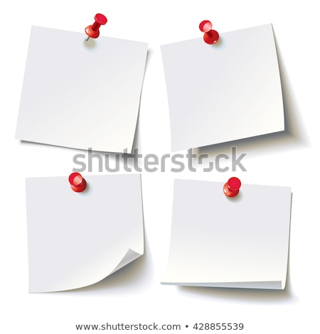 white sticker pinned red pushbutton with curled corner stock photo © rogistok