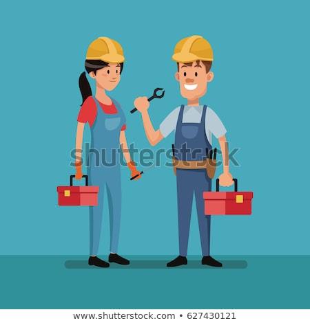 Homme travailleur de la construction casque affaires heureux Photo stock © vlad_star