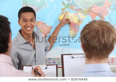 Geografia professor mapa do mundo conselho ilustração globo Foto stock © bluering
