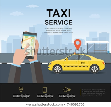 Zdjęcia stock: Taxi Service Poster With Map Vector Illustration
