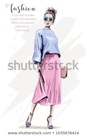 Mulher bonita moda illustrator quadro jovem em pé Foto stock © deandrobot