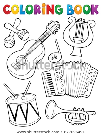 Coloring book music instruments 1 Stock photo © clairev