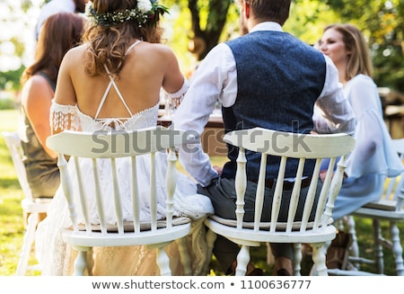 Rear of wedding couple in garden Stock photo © IS2