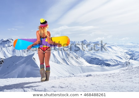 woman in bikini on mountain with skis Stock photo © IS2