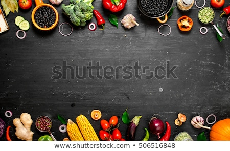 blackboard with raw vegetable stock photo © m-studio