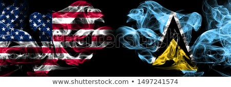 Football in flames with flag of saint lucia Stock photo © MikhailMishchenko
