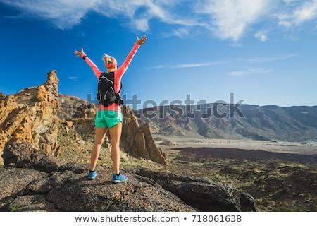 Wandelen vrouw vieren bergen landschap Stockfoto © blasbike