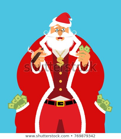 Rich Santa Claus and lot of money. Pocketful of cash. Earnings f Stock photo © popaukropa