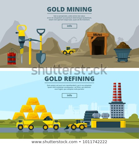 Miner and trolley of Coal. Mining Extraction mineral. Vector ill Stock photo © MaryValery