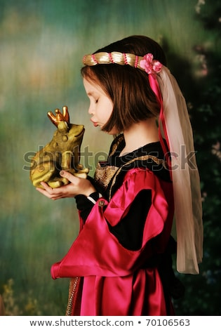 Stock fotó: Lány · visel · korona · csók · játék · béka