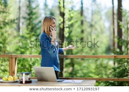 Nő áll laptop erkély épület utazás Stock fotó © IS2