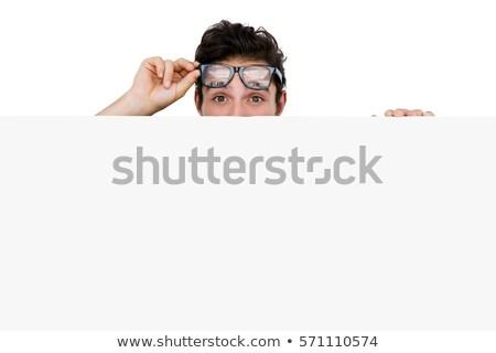 Férfi szemüveg rejtőzködik mögött fehér tábla fehér Stock fotó © wavebreak_media