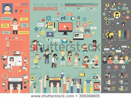 Media News computer laptop. illustration design graphic Stock photo © alexmillos