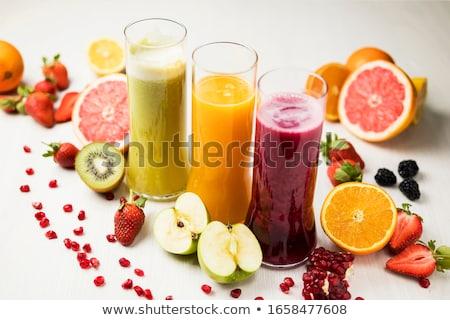 Kiwi sap smoothie appel vruchten glas Stockfoto © M-studio