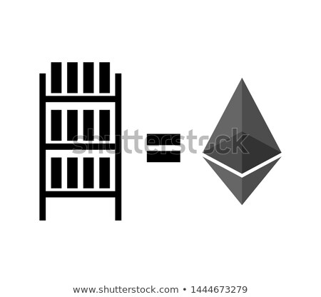 Mining etherium farm icon. Extraction of Cryptocurrency sign. Ra Stock photo © popaukropa