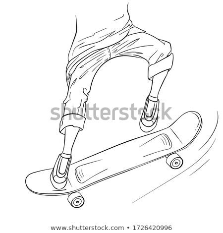 молодые · скейтбордист · скейтборде · стороны · фигурист · зеленый - Сток-фото © rastudio