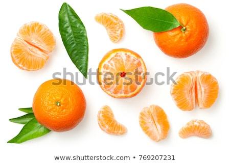 Frischen geschält Mandarine Obst Blätter Stock foto © DenisMArt