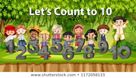 Multicultural children and number in jungle background Stock photo © bluering