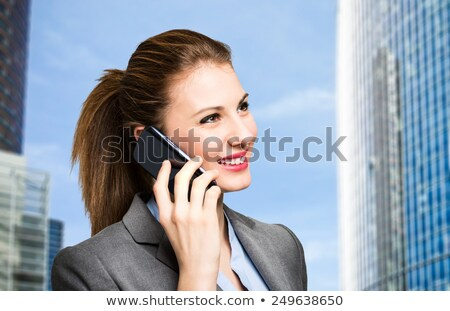 Foto stock: Empresária · falante · celular · pendulares · feliz · chinês