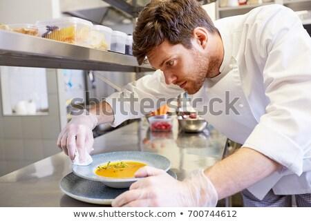 feliz · masculina · alimentos · restaurante · cocina - foto stock © dolgachov