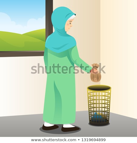 Muslim Woman Picking Up Trash Illustration Stockfoto © Artisticco