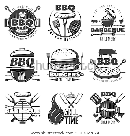 party barbecue hot bbq set vector illustration stock photo © robuart